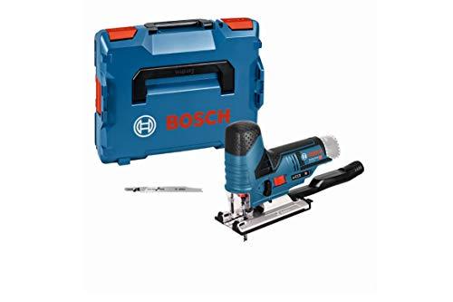 Bosch Professional 12V System Akku Stichsäge GST 12V-70 (2x Sägeblatt, Gleitschuh, Spanreißschutz, Schnitttiefe in Holz: 70 mm, ohne Akkus und Ladegerät, in L-BOXX)