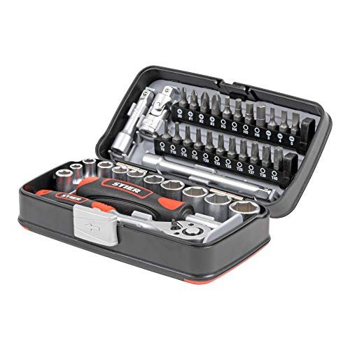 STIER Steckschlüsselsatz, Bitsatz, 38-teilig, 1/4 Zoll, Umschaltknarre, Schraubendreher,
