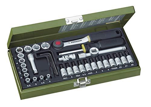 PROXXON Steckschlüsselsatz, Feinmechaniker-Satz mit 1/4'-Umschaltratsche sowie Schraubendrehergriff, 36-teiliges Werkzeug-Set mit Stahlkasten, 23080