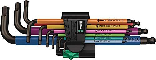 Wera 05073593001 950/9 Hex-Plus Multicolour 1 SB Multicolour Winkelschlüsselsatz, metrisch, BlackLaser, 9-teilig