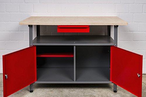 Werkbank aus Metall mit 30 mm Sperrholzplatte, verschließbaren Türen und Schublade, Maße (BxTxH): 120 x 85 x 60 cm