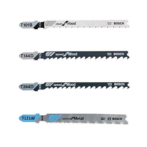 Bosch Professional 2607010904 Sägeblätter and Metall | 40 – teiliges Stichsägeblatt Set | Setinhalt: T 244 144 D 101 B Clean Wood/T 121 AF Speed for Metal, grau
