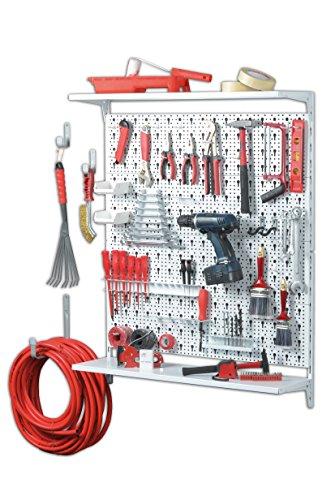 Element System ORGANIZER 3 Werkzeugwand aus Metall, 72-teilig inklusive Schrauben und Dübel, Lochwand weiß