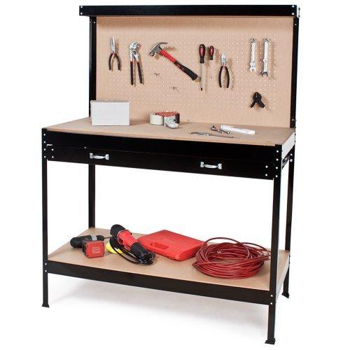 TecTake Werkbank   Werkzeugbank mit Schublade   Lochwand für hängende Werkzeuge - Verschiedene Größen (120 x 60 x 156 cm   Nr. 400855)