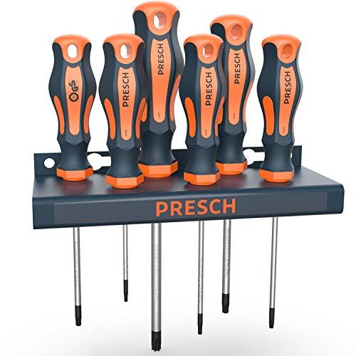 Presch Schraubendreher Set TX 6-tlg mit Wandhalterung - Hochwertige, magnetische Sternschraubenzieher - Schraubenzieher Satz - Profi Werkzeug