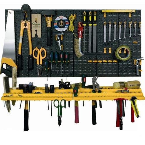 Werkzeug-Regal für Garagenwand, Aufbewahrungsset, Organizer, Ablagen inkl. 50Haken
