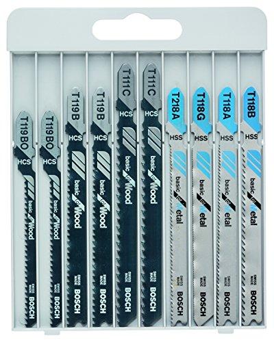 Bosch Professional 10tlg. Stichsägeblatt Set Basic for Wood and Metal (für Holz und Metal, Zubehör Stichsäge)
