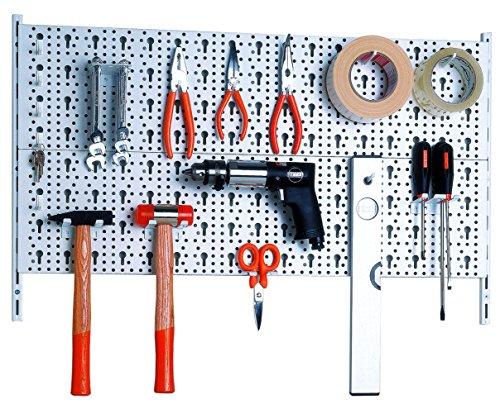 Element System 11300-00000 Metall Werkzeugwand plus, 28 teiliges, weiß